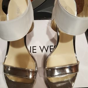 Nine West white and silver sandals